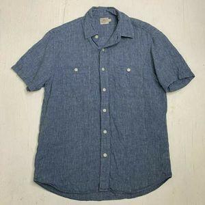 Faherty Linen Textured Blue Casual Shirt Mens S